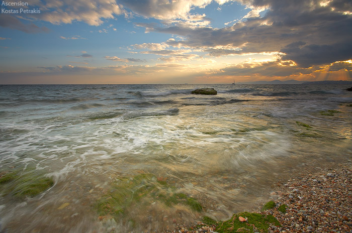 summer, spring, clouds, rain, storm, beach, water, waterscape, sea, sail, sunrays , Greece , Kostas Petrakis