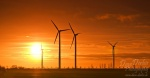 silhouettes, wind turbine, sunset, golden, orange, sun, brumby , East Germany , Dave Derbis